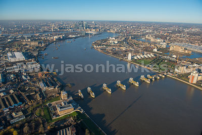 Aerial view of the Thames Barrier, London