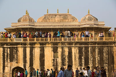India - Jaipur - Indian tourists inside the Amber Fort