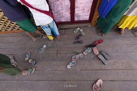 Footwear outside a classroom at Htet Eain Cave Monastic Education Schools near Nyaungshwe in Myanmar.