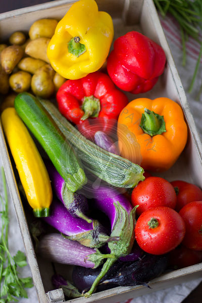 Summer vegetables in a crate