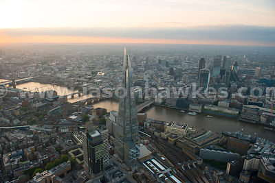 Aerial view of Southwark looking across the river to the City of London, London