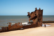 Shipwreck on the beach, Beira, Mozambique