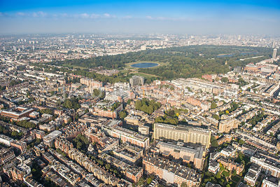 Aerial view of London, Kensington towards Kensington Gardens and Hyde Park.