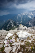 Looking down the ridge that leads to the summit of Velika Mojstrovka in the Julian Alps as a storm approaches.
