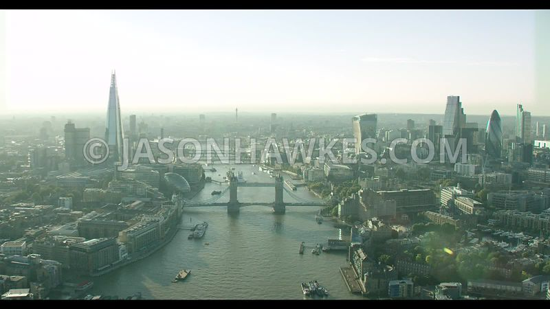 London Aerial Footage of River Thames at Tower Bridge.