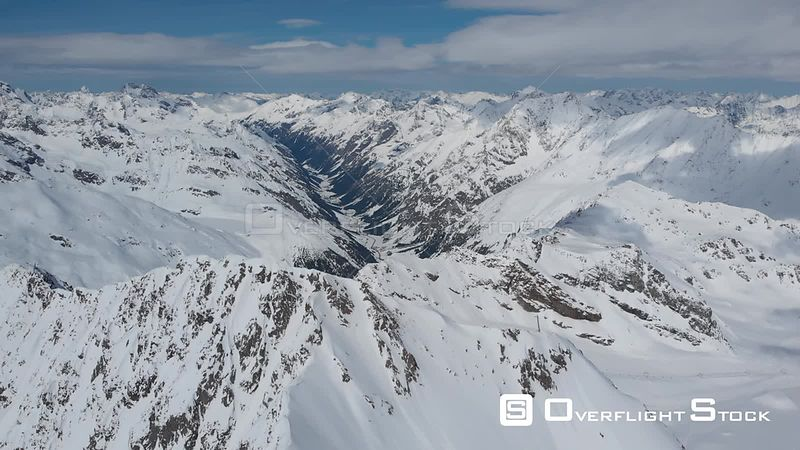 Aerial shot of Pitztal valley and Tyrolean Alps in Tyrol, Austria