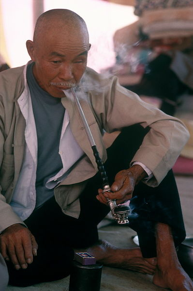 Man smoking pipe