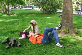 young couple share an intimate moment in a park in central Tehran. In the past, public displays of affection would have been ...