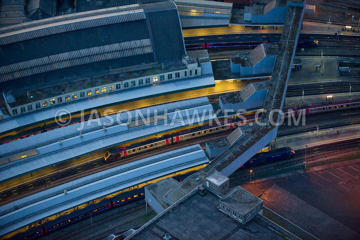 Aerial view of Bristol Temple Meads Station at night, Bristol