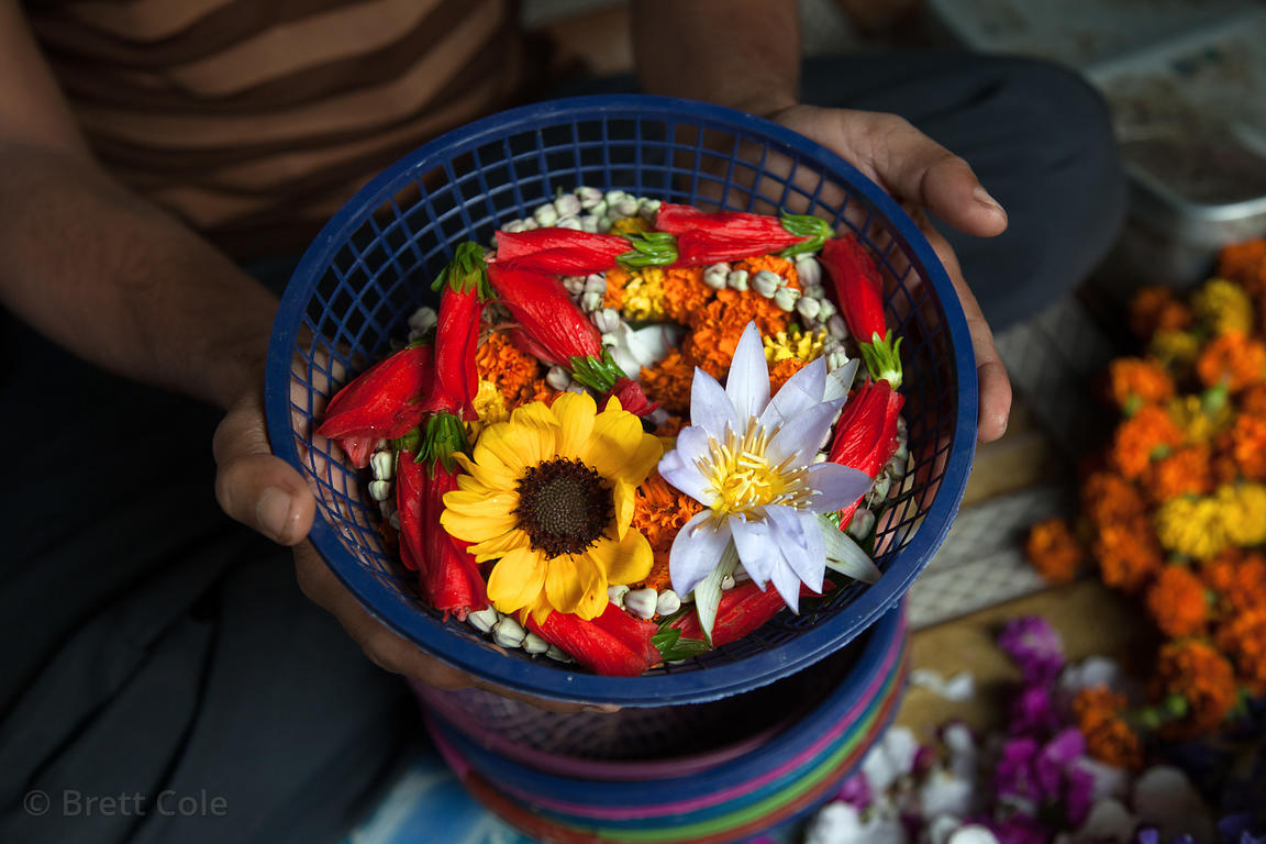 Flowers for sale to use in prayer at temples along the Hooghly River, Kolkata, India.