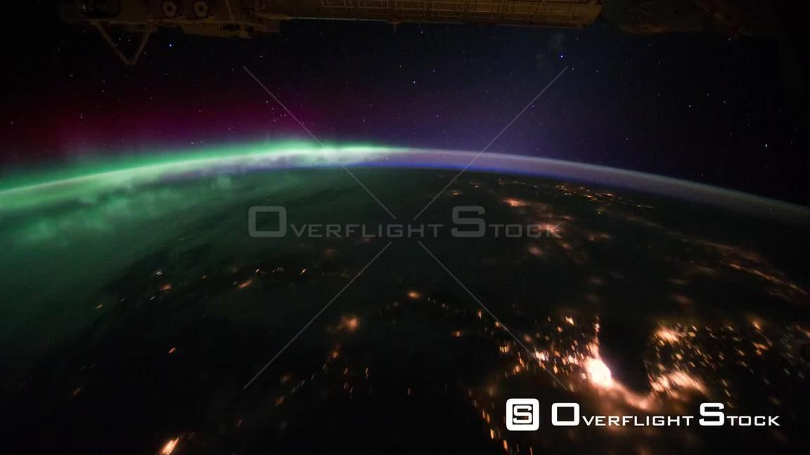 Time-Lapse from ISS over  USA Canada Aurora Borealis Exp29 29 Sep 2011