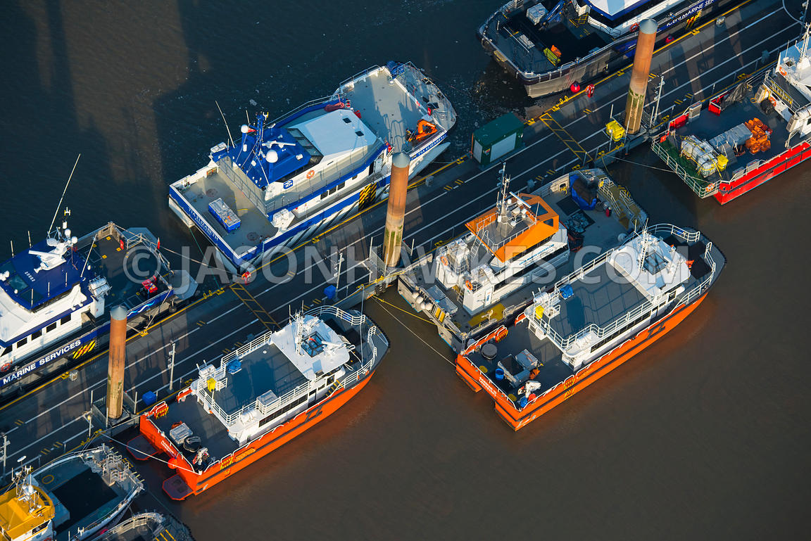 Aerial view of workboats at the Port of Mostyn