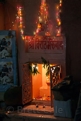Candles and lights on an altar in Jaipur, Rajasthan, India
