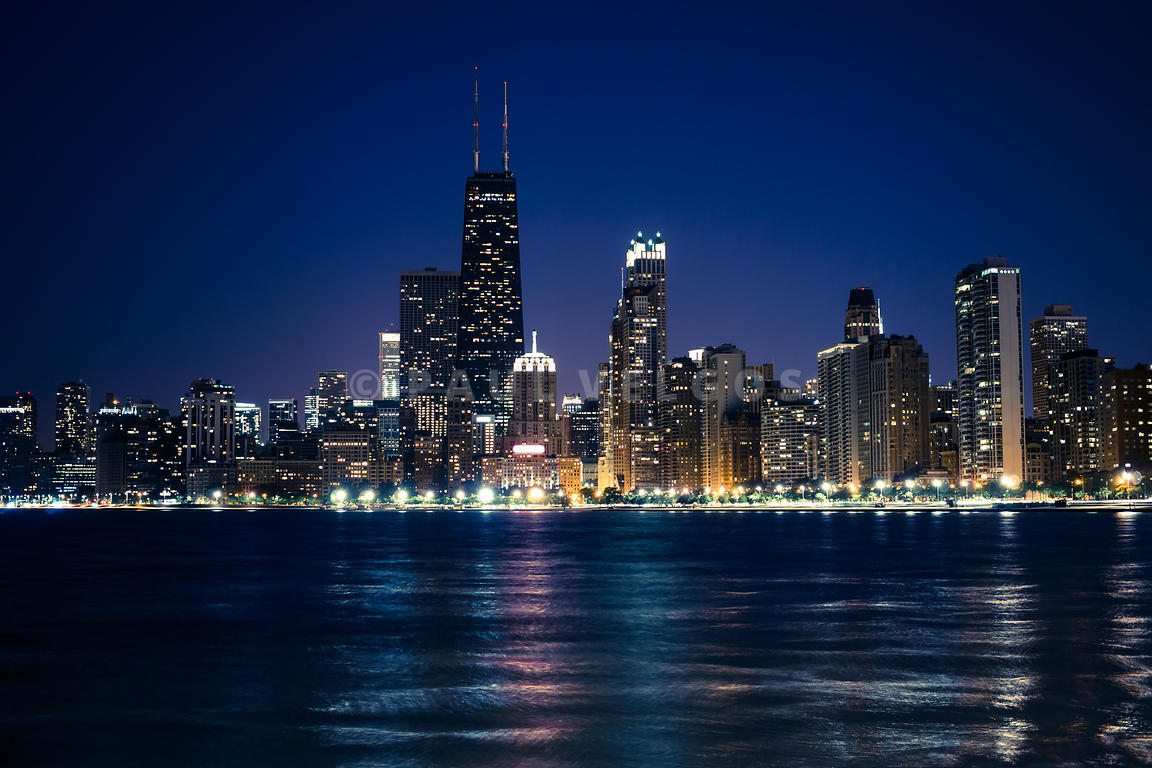 Downtown City of Chicago at Night
