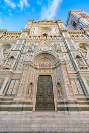 The facade of the Cattedrale di Santa Maria del Fiore or Florence Cathedral also known as Il Duomo di Firenze, a famous UNESC...