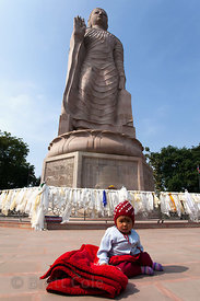 The 80 foot tall statue of Buddha at the Thai Buddha Vihar in Sarnath is the tallest statue of Buddha in India.