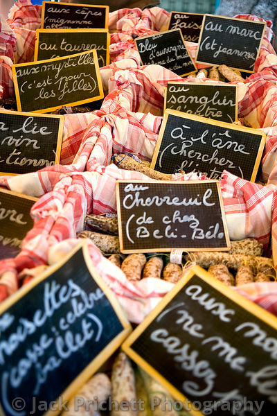 Sausages for sale, French marketplace