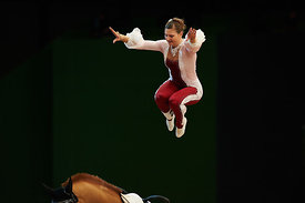 Simone Jaiser during Individual Vaulting World Cup - round 2 competition at Madrid Horse Week at IFEMA, Madrid - Spain