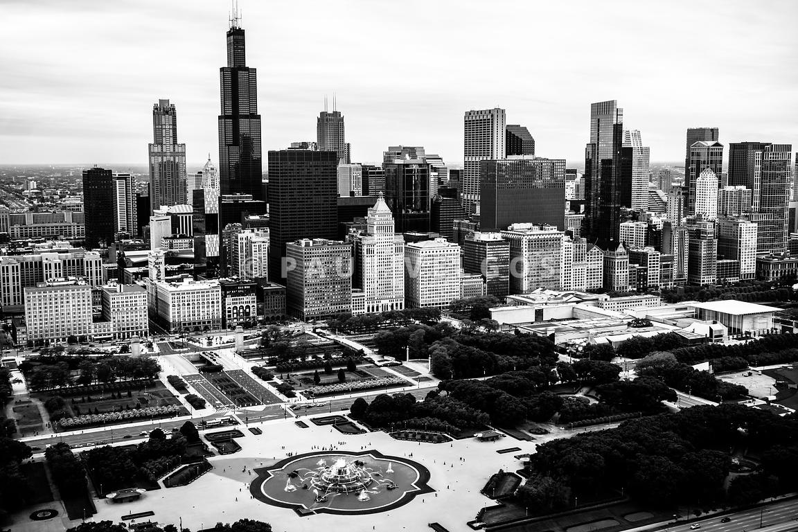 Chicago Aerial Picture in Black and White