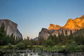 Valley View at Sunset in Yosemite National Park
