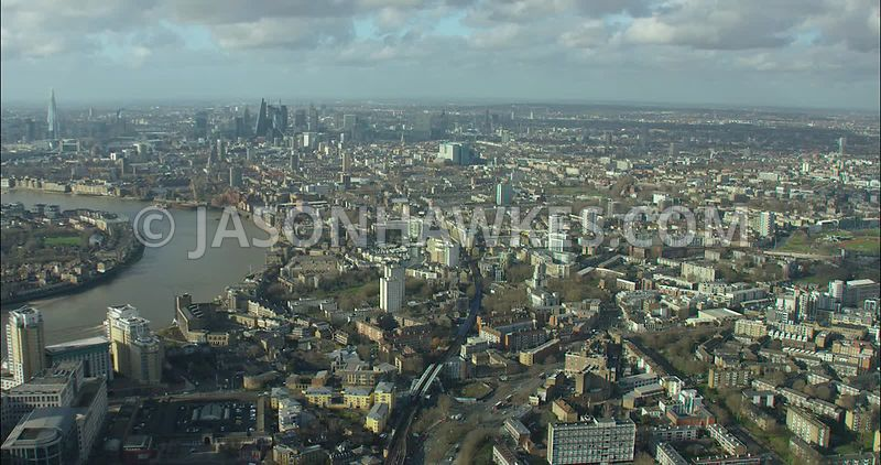 London Aerial footage, Limehouse Basin towards City of London.