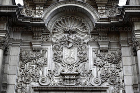 Francisco Pizarro's coat of arms on side wall of government palace, Lima, Peru
