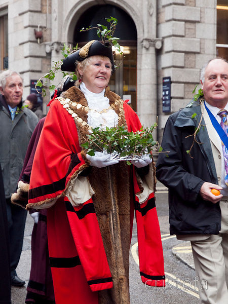 the Mayor carries the silver ball at the St Ives Feast