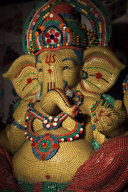 A famous Ganesh idol (2 meters tall) constructed entirely of playing dice, on display in Shekwalhi, Mumbai, India, during the...