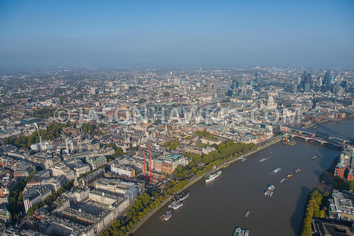 Aerial view of London, Aldwych with Strand and Temple.