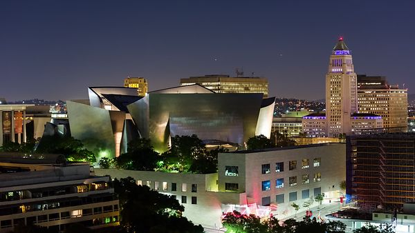 Medium Shot: Music & Politics - Walt Disney Concert Hall & City Hall, Downtown L.A.