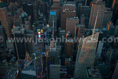 Aerial view of Midtown Manhattan, showing Times Square, 4 Times Square and the Bank of America Tower