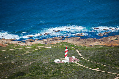 Aerial photograph of lighthouse, near Still Baai, South Africa, Western Cape Province, Indian Ocean, August 2009