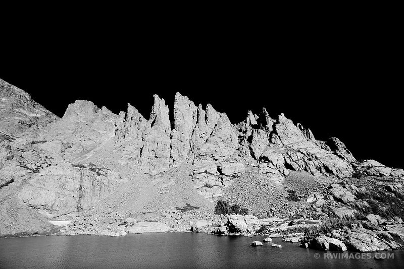 SKY POND SHARKS TOOTH ROCKY MOUNTAIN NATIONAL PARK COLORADO BLACK AND WHITE
