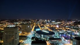 Medium Shot: Night Lights Over Kansas City's Sprint Center, Power & Light Mall, & Kaufman Music Center