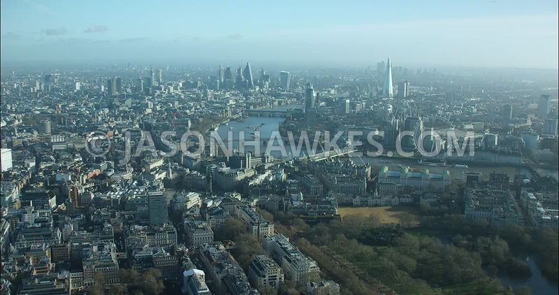 London Aerial footage, The Mall towards Charing Cross.