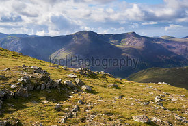 Views of High Stile and Red Pike from the summit of Robinson in the Lake District, England, UK.