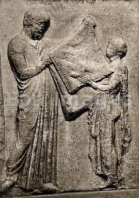 Parthenon frieze showing boy and priest by Phidias
