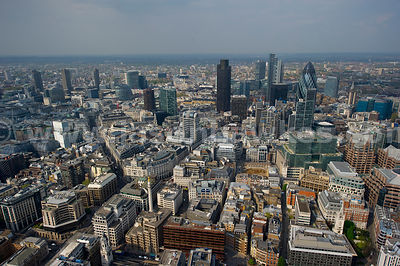 Aerial view over the City of London