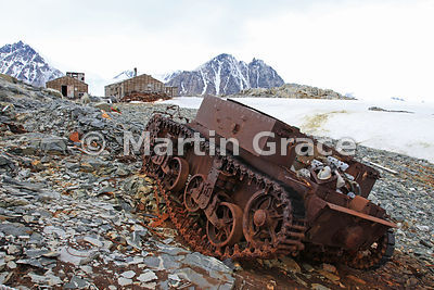 Caterpillar-tracked vehicle at East Base (1939-1941, 1947-1948) of the United States Antarctic Service on Stonington Island, ...