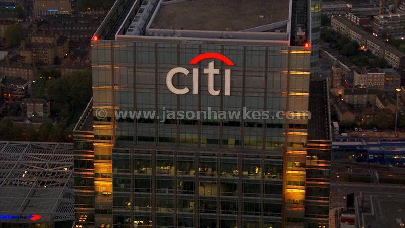 Aerial footage of the Citigroup Centre at dusk, London