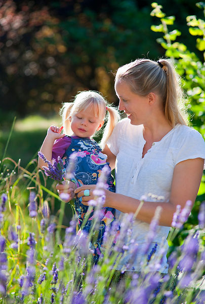 Mother and daughter picking lavender