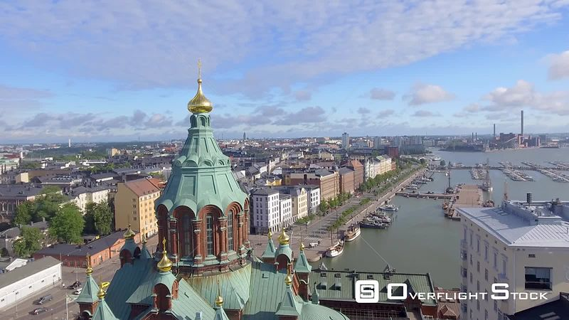 Helsinki Uspenski Cathedral aerial view Finland