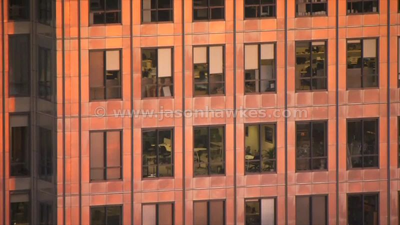 Aerial footage of an office building in Canary Wharf, London