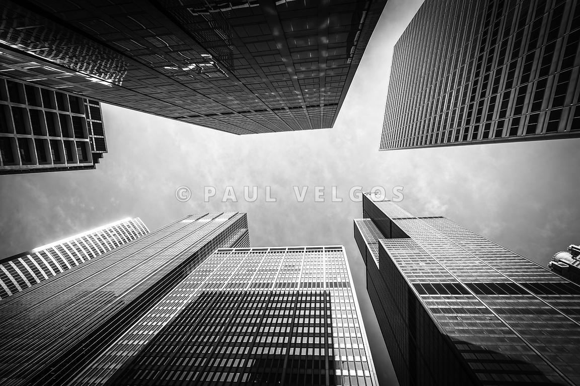 Chicago Buildings Upward in Black and White