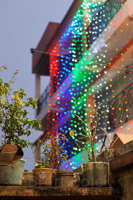 Christmas lights on a house in Sovabazar, Kolkata, India.