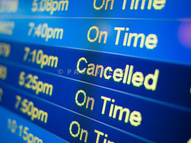 Flight Cancelled on Airport Monitor Sign