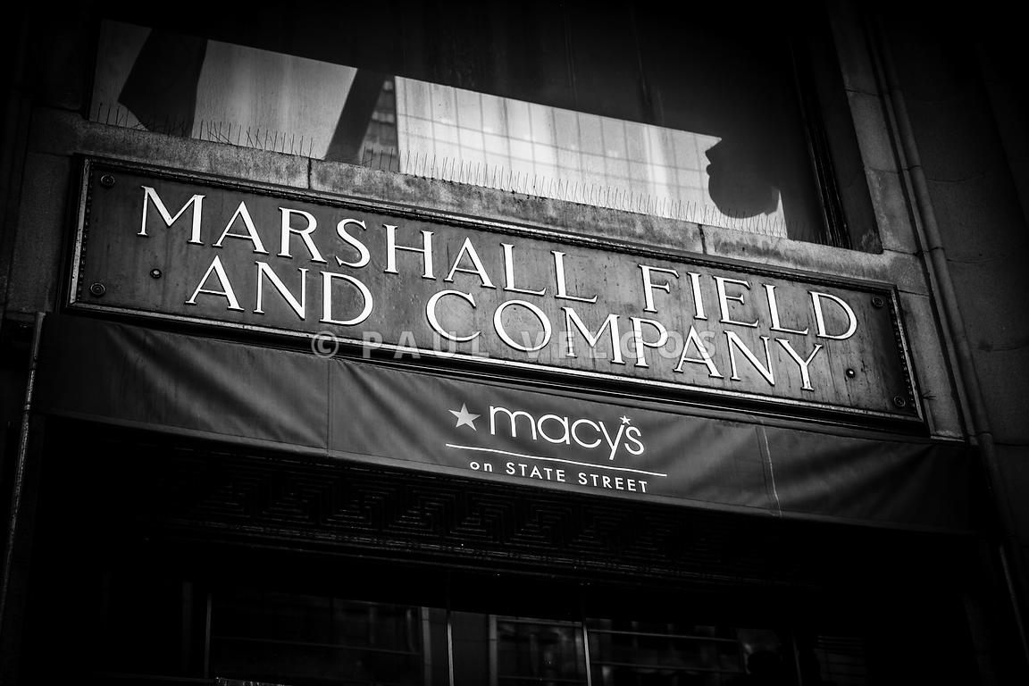 Chicago Marshall Field's Macy's Sign in Black and White