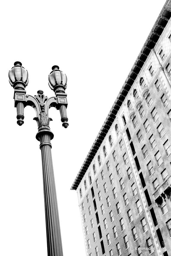 OLD STREET LAMP DOWNTOWN LOS ANGELES CALIFORNIA BLACK AND WHITE VERTICAL