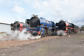 three steam engines from Newport rail workshops