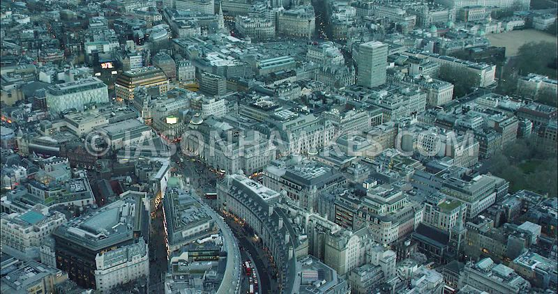 London Aerial Footage of Piccadilly Circus